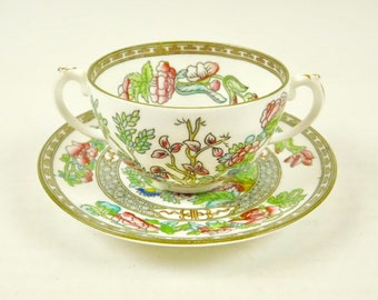 Coalport England AD 1750 Indian Tree Bouillon Cup and Saucer Double Handle Porcelain Pink Green Teas Luncheons Showers Bridal