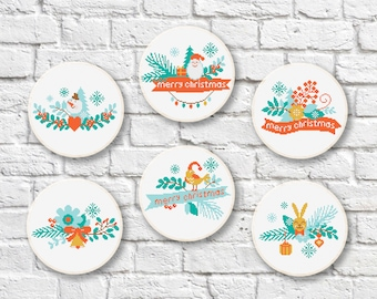 Set of 6 Patterns Merry Christmas Cross Stitch, Christmas Tree Cross Stitch Pattern, Christmas Tree Patterns, PDF Instant Download #ch016