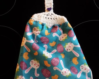Double Sided Hand Crocheted Dish Hanging Towel.  Happy Easter Bunny Chicks