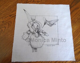 Pen & Ink on Fabric Original Drawing Quilt Square by Monica Minto hummingbird with Iris