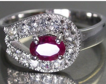Sterling Silver Ruby White Topaz Ring - pagan wiccan engagement SALE