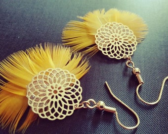 Parrot feather earrings.