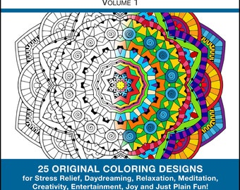 Mandalas to Color - PRINTED BOOK - Mandala Coloring - Volume 1 - 25 Original Coloring Pages