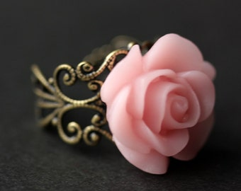 Pink Rose Ring. Light Pink Flower Ring. Gold Ring. Silver Ring. Bronze Ring. Copper Ring. Adjustable Ring. Handmade Jewelry.