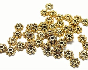 Lot of 100 pearls daisy shaped aged gold color 4 mm