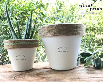 "6"" Aloe You Vera Much » Aloe Vera Cute Succulent Planter Plant Pot Cute Succulent Aloe Succulent Plant Gift Set Plant Puns Gift For Her Pot"