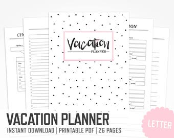 Vacation Planner / Letter Size / Packing List Travel Planner Vacation Organizer Family Trip Week Outfit Planner / INSTANT DOWNLOAD
