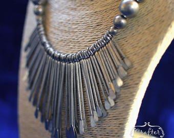 Metal Vintage Ethnic Boho Tassel Dangle Bib Statement Collar Necklace