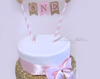 Pink Gold Glitter ONE Cake Bunting Topper SALE First Birthday Girl