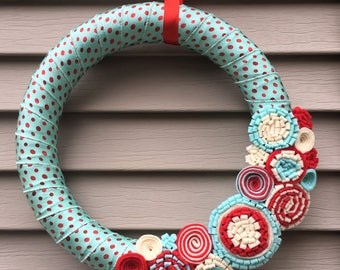 Christmas Wreath - Fall Wreath - Polka Dot Wreath - Holiday Wreath - Holiday Decor - Holiday Door Wreath - Fall Felt Wreath - Polka Dots