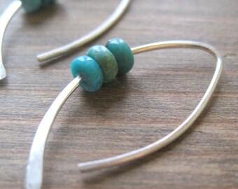 Triple Turquoise Earrings, turquoise jewelry, blue earrings, turquoise drop earrings, small silver earring, december birthstone, maryandjane
