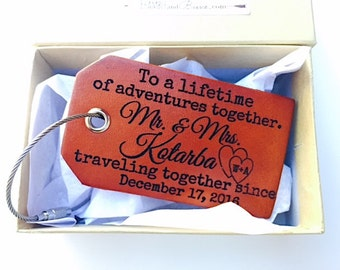 Personalized  Wedding Luggage Tag, Gifts for Wedding, Custom Bride Groom Luggage Tag, Anniversary Gift, Bride Groom Travel, Adventures