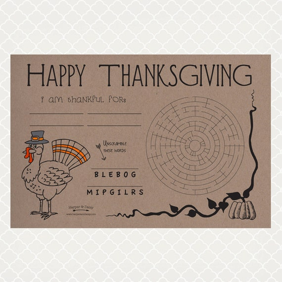 sc 1 st  Etsy & Kids Thanksgiving Paper Placemats