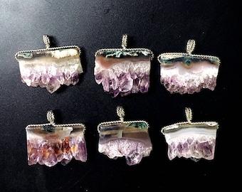 Nature Amethyst Slice Druzy Pendants // Raw Amethyst Slice // Amethyst Pendant with Silver Plated Wire Wrapped // Irregular stone jewelry