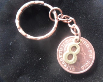 8th anniversary Bronze anniversary 2010 British coin keyring 8th anniversary gift for a man 8th anniversary gift for a woman