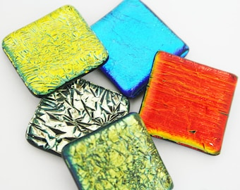 1-inch Dichroic Glass Tile (5 pieces)
