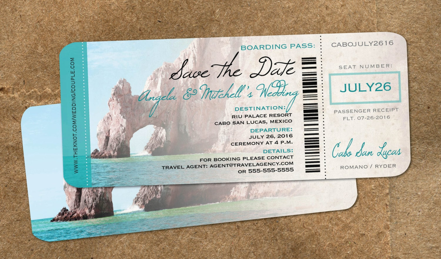 Wedding In Cabo Save The Date Boarding Pass Mexico