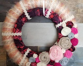Yarn and Fabric Wrapped Spring Wreath