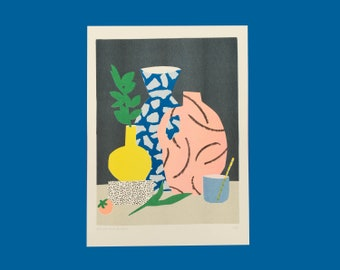 Risograph print of still life with a weird coloured mangostee