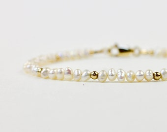 Pearl Bead Bracelet - Seed Pearl Bracelet - Freshwater Pearl Bracelet - June Bracelet - June Gift - Gold or Silver and Pearl Bracelet
