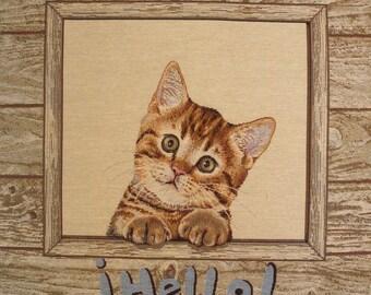 Fabric Panel tapestry kitten Portrait coupon HELLO