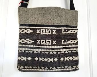 Southwestern Cross Body Handbag, Tribal Crossbody Bag, Boho Textile Purse, Black Carpet Satchel, Handmade Vegan Purse, Gift for Women, OOAK