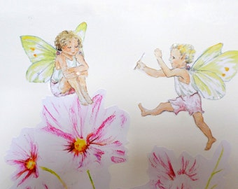 Fairy wall decals, fairy wall stickers, floral wall decals, fairy decals, flower fairy wall stickers, girls decals, pink fairy wall decals
