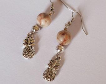 Fancy Jasper and pineapple charm earring