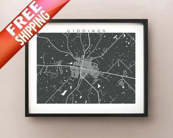 Giddings, TX Map Print - Lee, County, Texas Poster