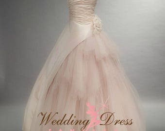 Beautiful Blush Wedding Dress with Tulle and Satin Ruching
