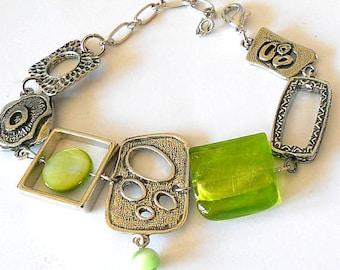 Statement bracelet, lime green bracelet, unique jewelry, boho bracelet, gift for her, silver link jewelry, funky jewelry, asymmetric jewelry
