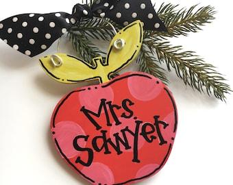 personalized teacher apple ornament