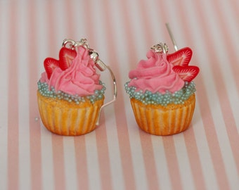 Strawberry Cupcake Earrings  - Pink Muffin earrings - Miniature Food Earrings - Mini  Food Jewelry - Pastry Earrings - Kawaii earrings