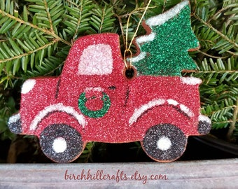 Vintage Red Christmas Truck Cinnamon Ornament