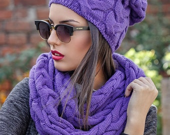 Set violet hats for women Wool hat and scarf infinity Wool set Knitted set Winter Winter chunky scarf Holiday gift Hat and Scarf Set