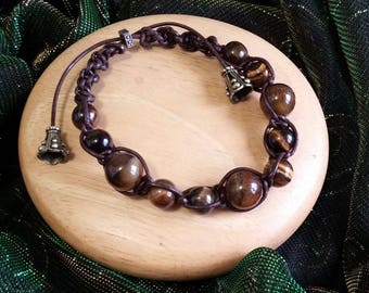 Brown Leather Tiger Eye Beaded Bracelet with Drawstring Closure