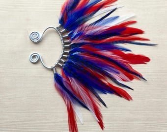 Mohawk Feather Ear Wrap/Cuff in Red White & Blue