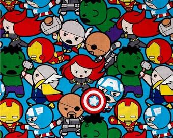 Marvel Avengers Superhero Kawaii Superheroes All In The Pack Character Cotton Fabric by Springs Creative Iron Man Hulk Thor Captain America