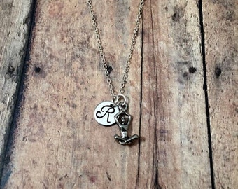 Yoga initial necklace - yoga jewelry, meditation necklace, silver yoga necklace, Siddhas necklace, meditation jewelry, yogini necklace