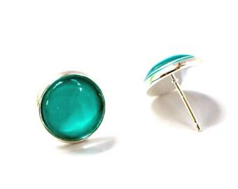Minimalist Aqua Earrings, Aqua Glass Earrings, Aqua Jewelry, Glass Earrings, Minimialist Earrings, Turquoise Earrings, Glass Stud Earrings