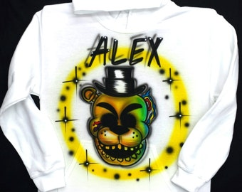 Airbrushed Five Nights At Freddy's Golden Freddy FNAF Inspired Hoody Sweatshirt
