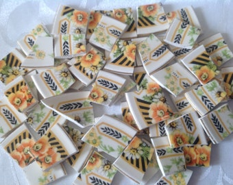 Broken China mosaic tiles~~Handcut Tiles~~SUNNY SUNFLOWERS