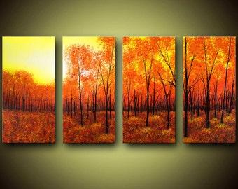 Bright Fall Landscape Giclee On Canvas Large 4 Panel Wall Art, Landscape Art Print, Nature Wall Decor, Autumn Leaves Art Print, Sunrise Art