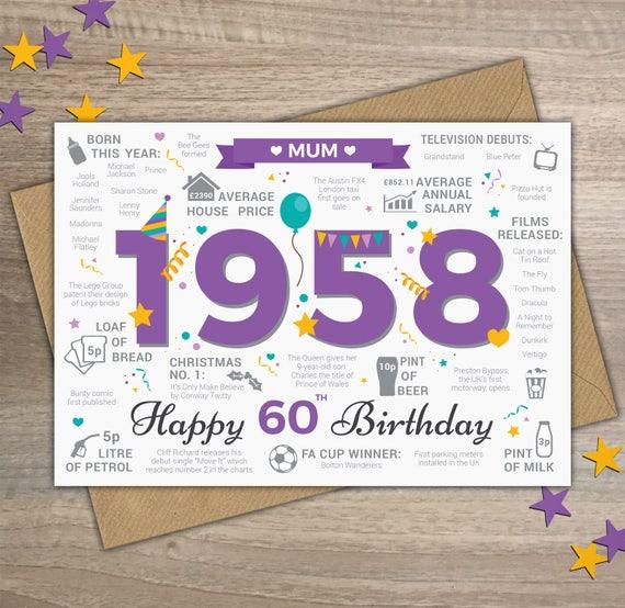 happy 60th birthday mum greetings card born in 1958 british