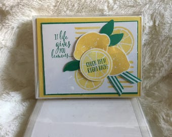 5 lemon handmade greeting cards with matching envelopes