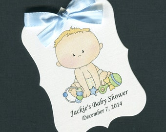 Personalized Baby Shower Favor Tags, baby boy with his toys, set of 40