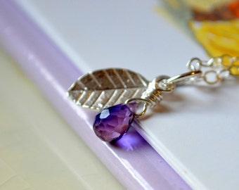 June Birthstone Necklace, Alexandrite Color Quartz, Sterling Silver Jewelry for Girls, Genuine Purple Gemstone, Leaf Charm