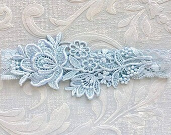 "Blue Lace Bridal Garter, Blue Garter, Bridal Garter, Lace Wedding Garter, Elegant Garter, Garter, Simple Garter, Bridal Shower Gift ""Flora"""