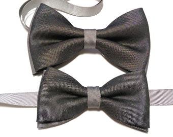 Men's Toddler's  charcoal grey black bow tie