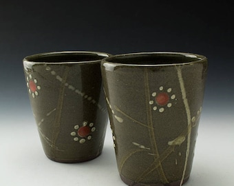 Stoneware Tumbler - 16oz Cup - Celadon with Flowers & Swipes